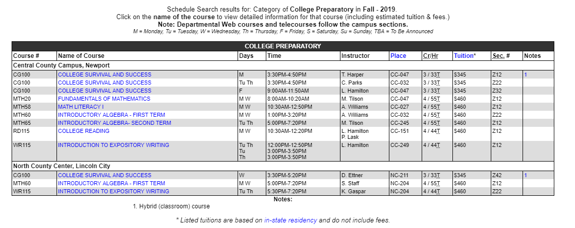 Example Course catalog entry showing College Preparatory classes