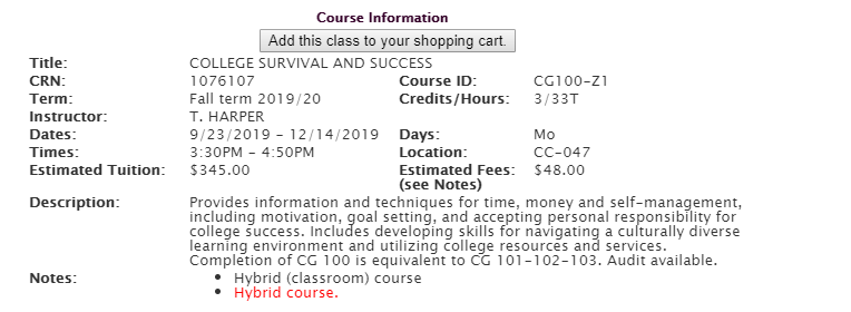 Course catalog detail for CG 100